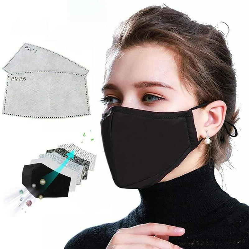 Pm2.5 Black Color Mouth Mask Double Layer Anti Dust Mask Cotton Activated Carbon Filter Windproof Face Masks Care