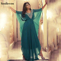 Smileven Hunter Green Evening Dresses Chiffon A Line Caftan Arabic Prom Dresses Plus Size Evening Party Gowns