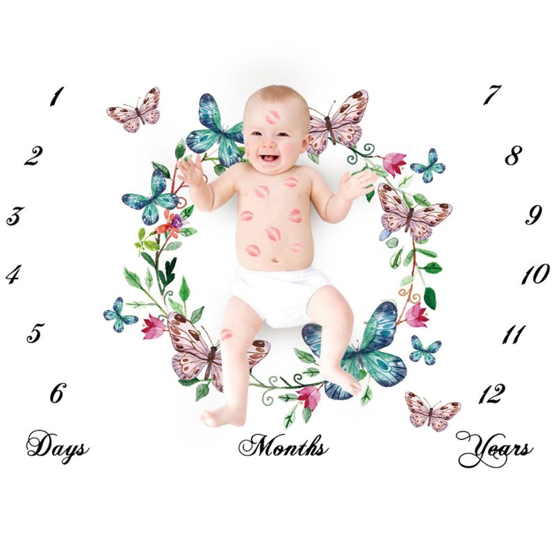 Newborn Baby Milestone Number Butterfly Pattern Mat Blanket Photography Background Backdrop Cloth