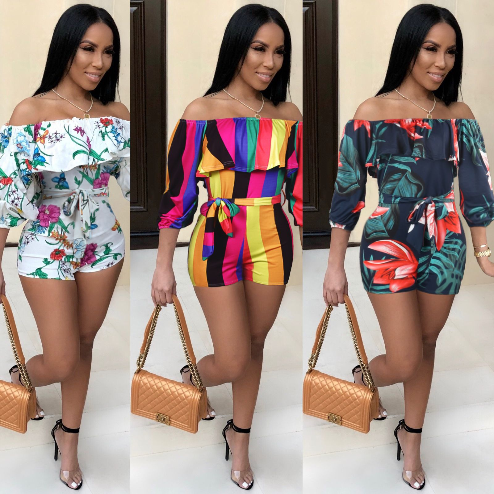 Hot Selling WOMEN'S Dress Europe And America-Printed Cascading Sleeve With Belt Summer Fashion Onesie S1003