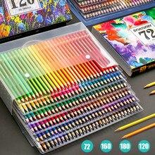 Conjunto de lápices de madera para estudiantes, lápices de colores Set profesional de 48/72/120/160/180 colores, con acuarela y aceite