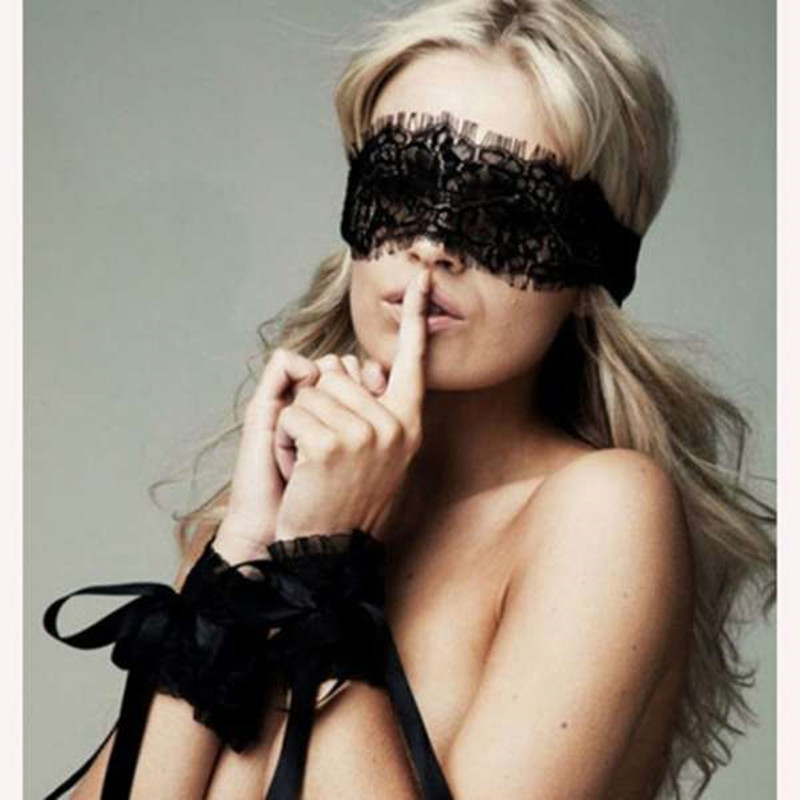 Women's Sexy Lingerie Black Lace Eye Covers With 1 Pair Hand Wrap Gloves