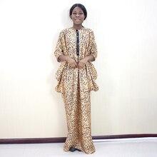2019 moda afrykański rękaw w kształcie skrzydła nietoperza wzór lamparta drukowana tkanina na sukienkę Plus rozmiar