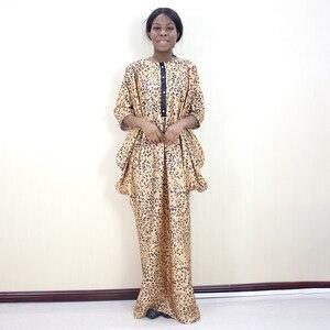 Image 1 - 2019 moda afrykański rękaw w kształcie skrzydła nietoperza wzór lamparta drukowana tkanina na sukienkę Plus rozmiar