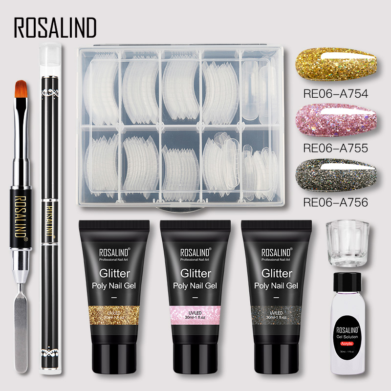 ROSALIND Poly Nail Gel Extension Nail Kit All For Manicure Gel Set Acrylic Solution Water Builder Gel Polish For Nail Art Design 7