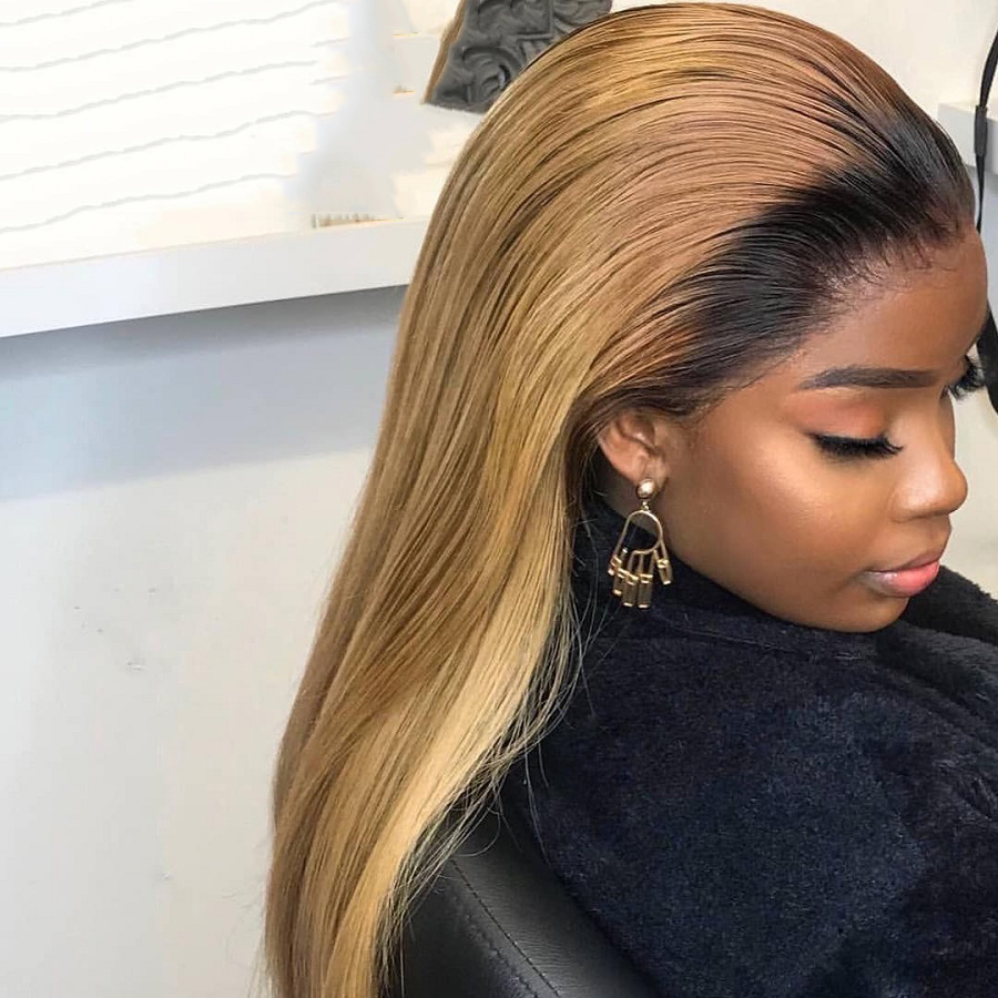Straight Hair Lace Front Wigs Dark Root Ombre Honey Blond Color Two Tone For Black Women Brazilian Remy 13x4 1b 27 Gold Wigs