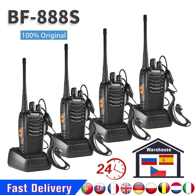 """2/4 шт. Оригинальный Baofeng BF-888S иди и болтай Walkie Talkie """"иди и 5 Вт BF 888S 6 км UHF 400-470 МГц передатчик FM трансивер Walkie Talkie двухстороннее радио BF888S с наушн..."""