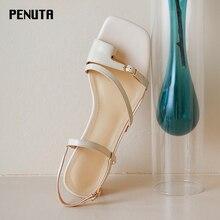 2020 PENUTA Summer Sandals Women Gladiator Genuine Leather Chunky Heels Punk Style Flip Flop New Designer X0084