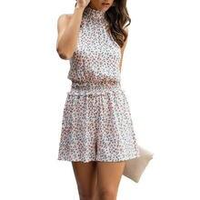 2021 Летняя мода Цветочный принт комбинезон для женщин с завязками