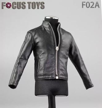 Mnotht 1/6 Men's PU Leather Jacket  Black Pants White Shirt Black Shoes Belt Suit for 12inch Action Figure Toy