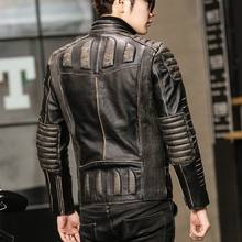 AVIREXFIY 2020 Men Biker Leather Jacket Genuine Thick Cowhide Slim Fit Men Winter Short Leather Motorcyclist Coats M-XXXXXL(China)