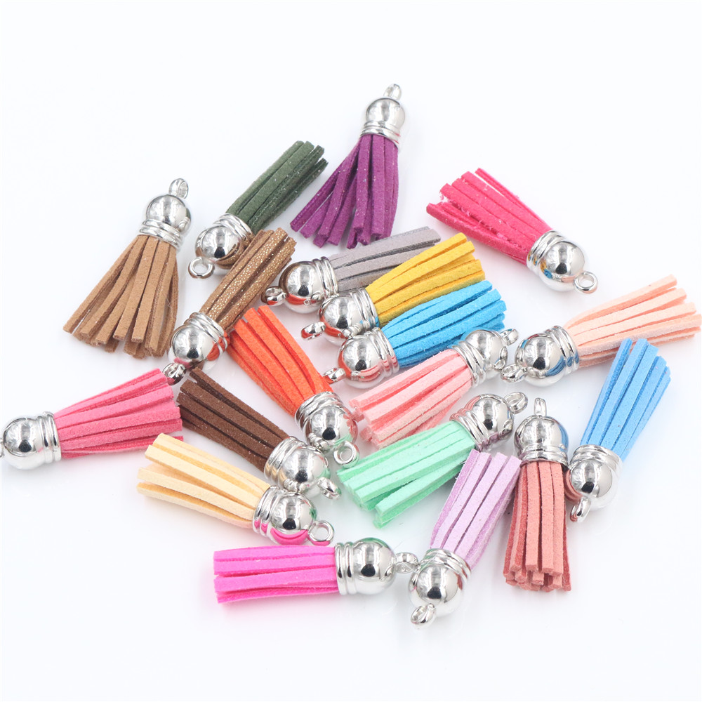10pcs 38mm Full Length Suede Tassel For Keychain Cellphone Straps Jewelry Charms, Leather Tassels Silver Color Gold Color Caps