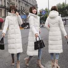 Однотонное тонкое хлопковое пальто с капюшоном для женщин Длинная