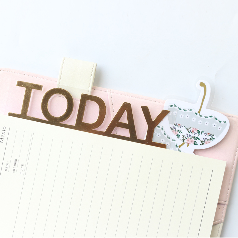 Domikee Cute Kawaii Gold Foil Flower Pattern Office School Diary Planner Index Divider Accessories Paper Bookmark Stationery