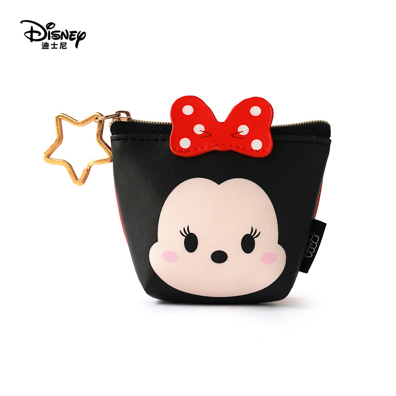 Disney Minnie Mouse Portable Cosmetic Make Up Bag Multi-purpose Storage Tsum Coin Cartoon Purse Handbag Stitch Makeup PU Leather