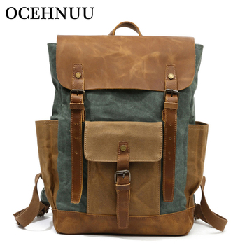 OCEHNUU Luxury Backpack Men Waterproof Crazy Horse Leather Canvas School Bag Large Laptop Rucksack Back Pack Travel Bag Male
