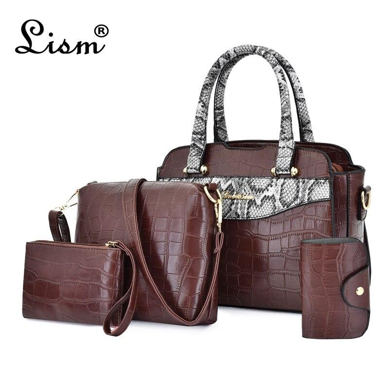 Luxury Handbags Vintage 4 Piece/set Women Bag Designer Classic Top Handle Bag Ladies Leather Shoulder Messenger Bag Clutch Purse