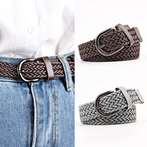 Wide-Belt Jeans Dress Braid Elastic Women New-Fashion Buckle Knitted Metal Casual