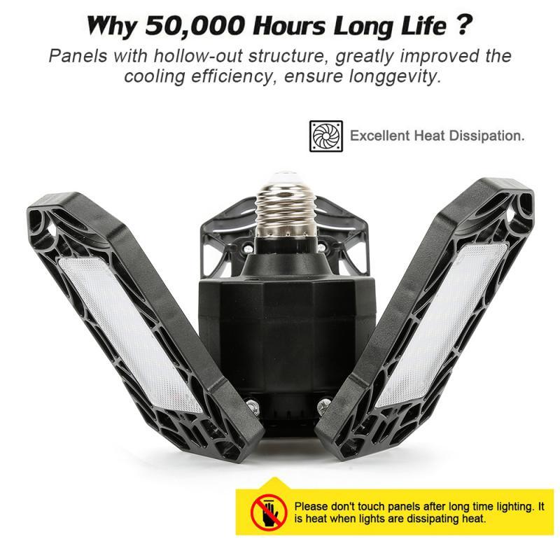 Led luz de garagem 360 graus deformable luz de teto para casa armazém oficina dobrável três-folha deformação lâmpada AC85-265V