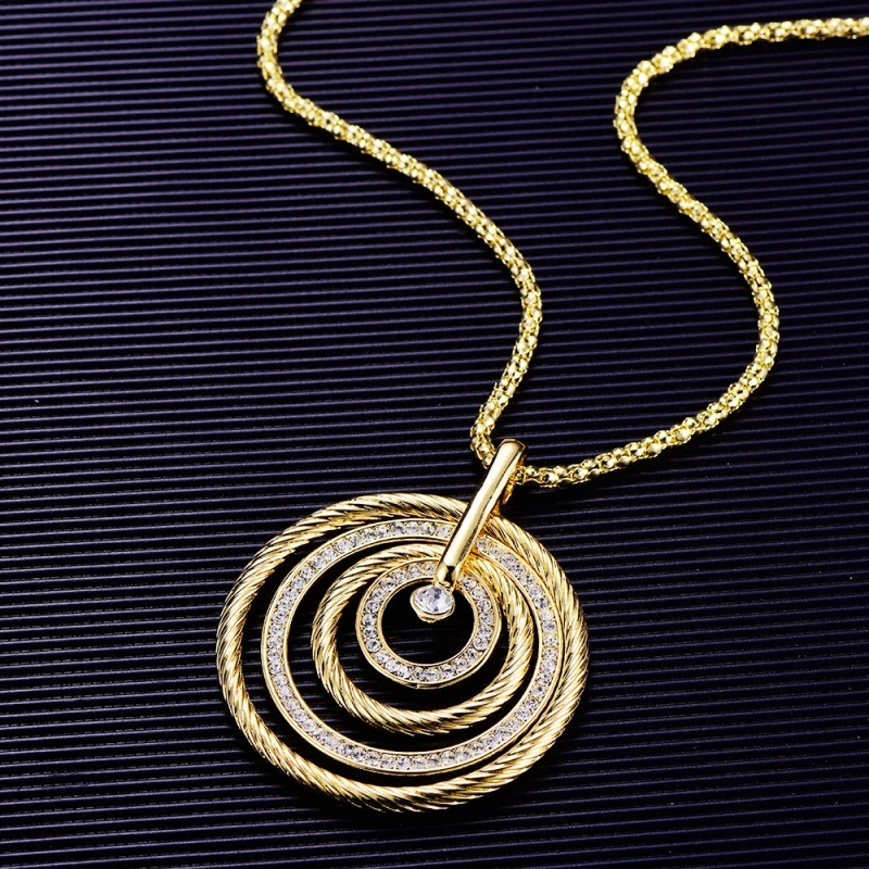 Fashion Design 4 Circles Turntable Pendant Necklace For Women Rhinestone Gold Plated Chain Long Necklaces Luxury Jewelry 2020