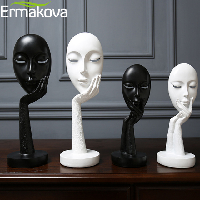 ERMAKOVA Nordic Abstract Thinker Thinking Lady Mask Figurine Resin Statue Office TV Cabinet Home Decoration Crafts
