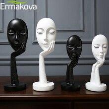 Ermakova北欧抽象思想家思考女性マスク置物樹脂像オフィステレビキャビネット家の装飾工芸品