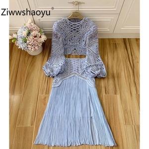 Женский костюм с юбкой Ziwwshaoyu, синяя блузка с вышивкой из бисера и рукавами-фонариками + юбка с высокой талией, 2020