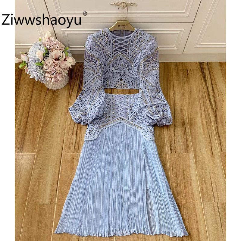 Ziwwshaoyu Sexy Hollow Out Embroidery Beaded Blue Skirt Suit Women's Big Lantern Sleeve Blouse + High Waist Skirt Set  2020