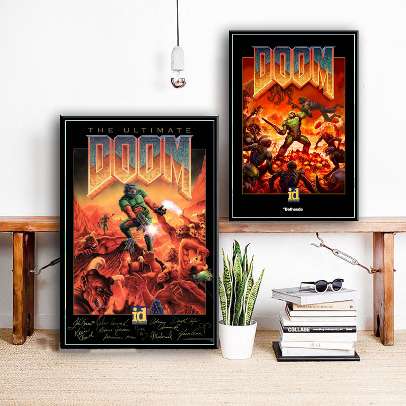 Video Games The Ultimate Doom Game Canvas Painting Posters And Prints Pictures On The Wall Vintage Decoration Home Decor Cuadros