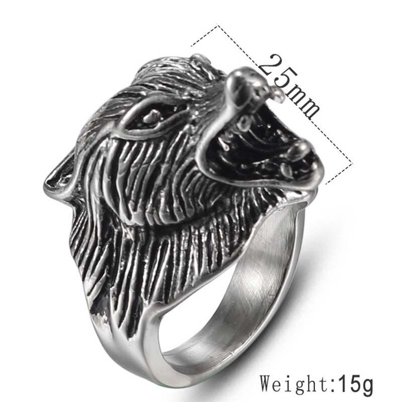 MINCN Wolf Head Ring Domineering Retro Mens Stainless Steel Punk Style Animal Beast