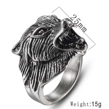 MINCN Wolf Head Ring Domineering Retro Mens Stainless Steel Punk Style Animal Beast