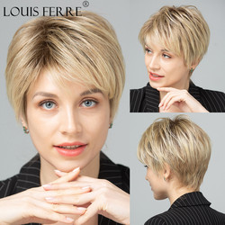 LOUIS FERRE Natural Looking Short Wave Synthetic Wigs for Women Ombre Brown Platinum Blonde Golden Wig with Bangs Heat Resistant