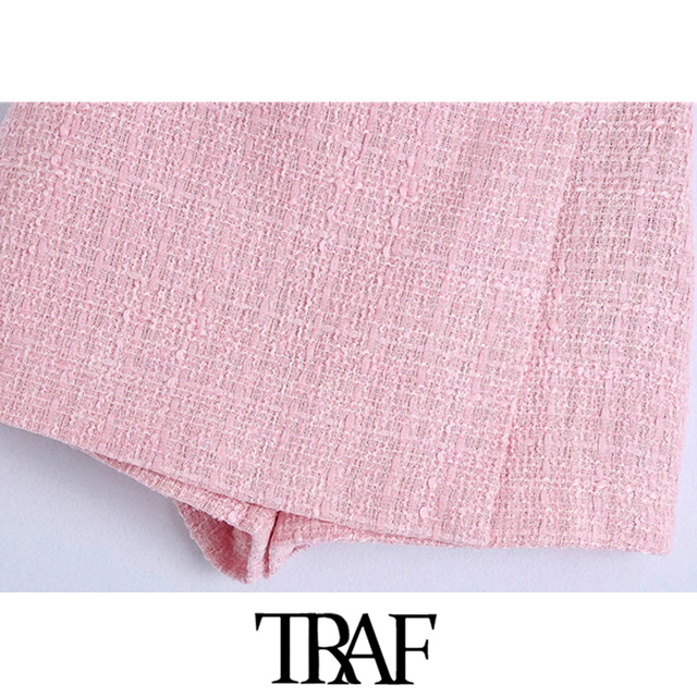 TRAF Women Chic Fashion Tweed Shorts Skirts Vintage High Waist Back Zipper Female Skort Mujer 4