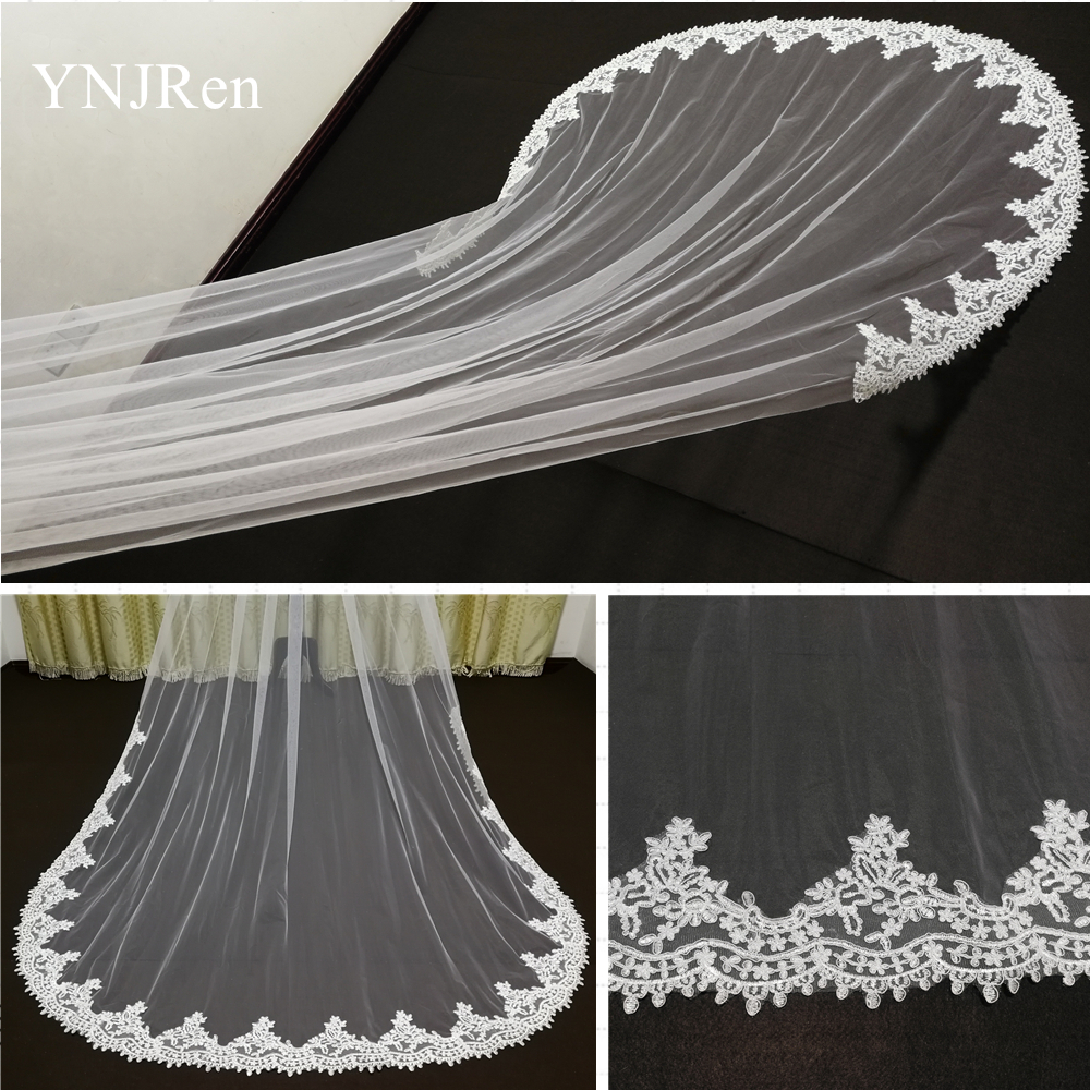 Real Photos one layer Water drop Lace Edge White Ivory Cathedral Wedding Veil Long Bridal Veil Cheap Wedding Accessories