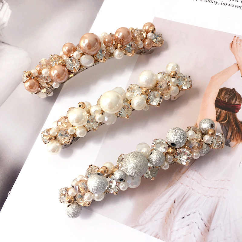 2018 Korea Gadis Lucu Hiasan Kepala Rambut Pin Sederhana Mutiara Berlian Imitasi Spring Bebek Jepit Rambut untuk Wanita Fashion Rambut Aksesoris