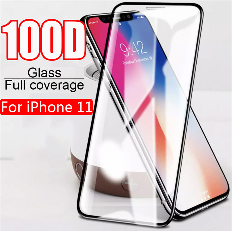 100D Protective Glass On The For IPhone 7 8 6 6s Plus X XR 11 Tempered Screen Protector For IPhone 11 Pro X XR XS Max Glass Film