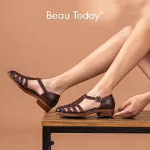 BeauToday Gladiator Sandals Women Genuine Cow Leather Cover