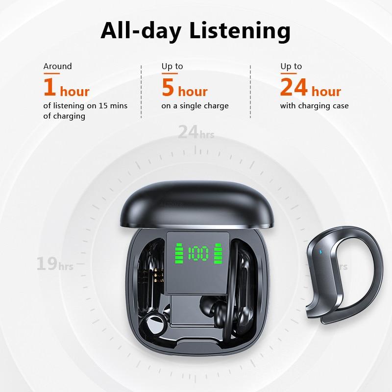 Tws Draadloze Hoofdtelefoon Bluetooth Oortelefoon Ruisonderdrukkende Sport Waterdichte Headset 9D Stereo Draadloze Oordopjes Met Microfoon 2