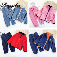 Longqibao children's clothing boys and girls fleece casual sport suit double sided plus velvet warm two piece children's clothes