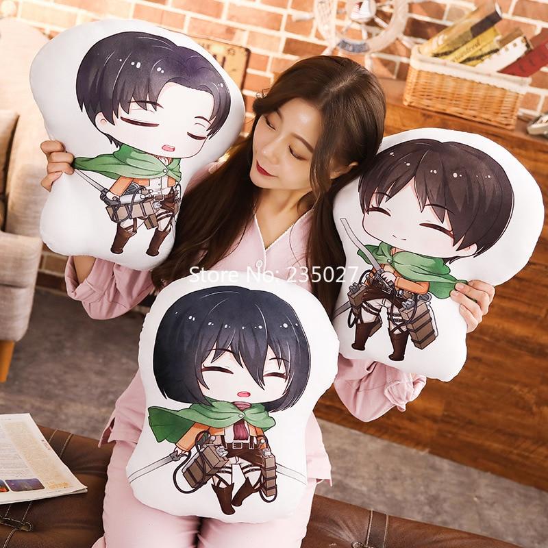 Attack on Titan PP Cotton Figure Toys Eren Jaeger Mikasa Ackerman Levi Short Plush Doll Pillow 45cm