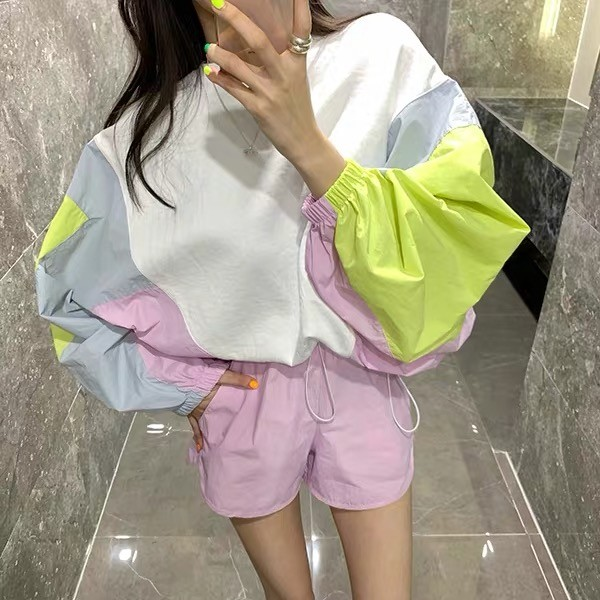 Korea 2020 New Fashion Hit Color Batwing Sleeve Long Sleeve Shirt Jacket + Casual Short Pants 2 Piece Set Women Set