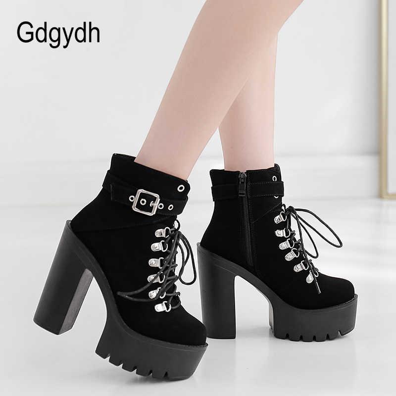 Gdgydh Lace Up Vrouwen Laarzen Platform Gesp Laars Winter Schoenen Dikke Hak Autmn Laarzen Met Rits Enkelbandje Zwart Suede gothic
