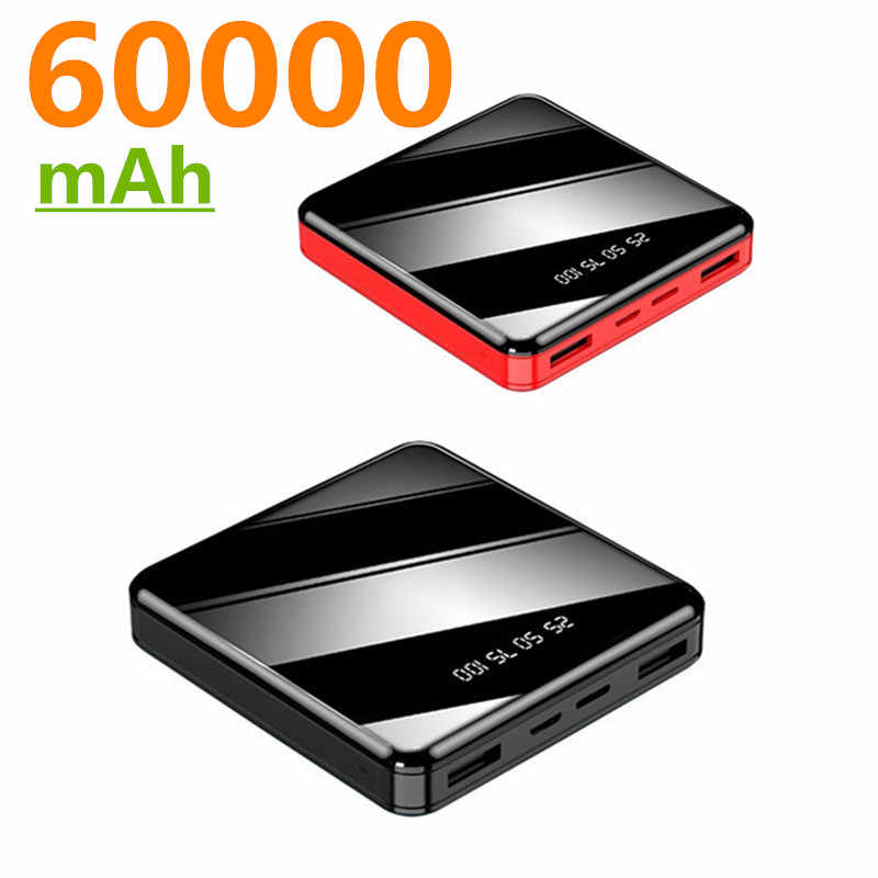 60000Mah Power Bank Voor Alle Smartphones Mini Powerbank Pover Bank Charger Dual Usb-poorten Externe Batterij Poverbank Draagbare