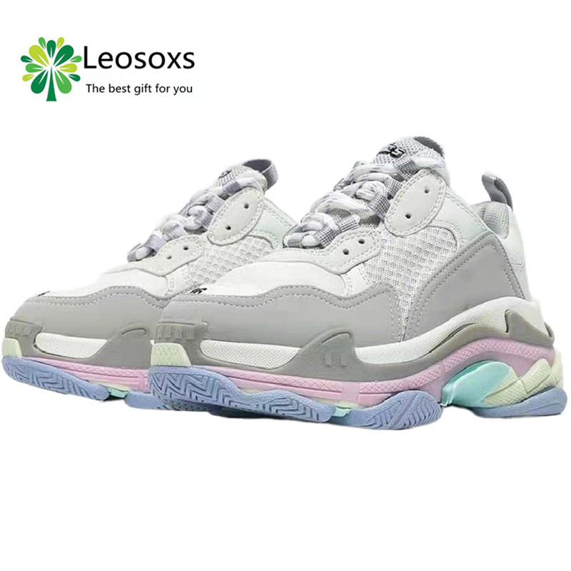 Leosoxs Spr&Fal&Win new color block thick bottom muffin daddy shoes women's high rise cotton versatile casual sports women shoes