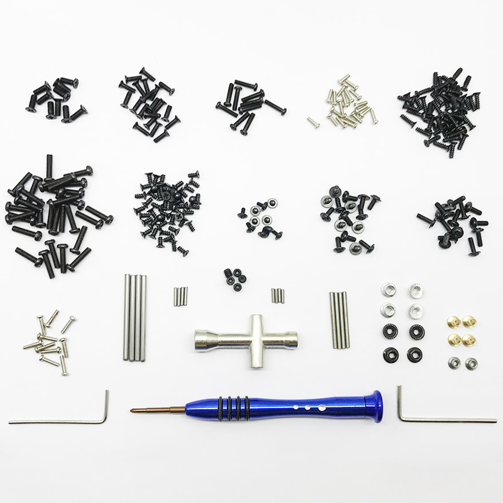 316 in 1 Tool RC Car Flat Head Screws & Round Head Screws Nuts RC Flat Washer RC Hexagon Wrench for Wltoys 1/14 144001 RC Car A