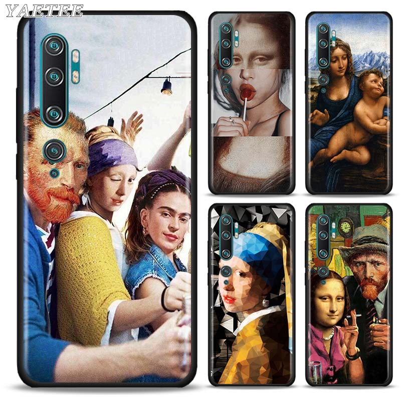 Mona Lisa Funny Spoof Art Black Phone Case For Xiaomi Mi 10 5G 10 Lite Note 10 Pro 9 9T Pro 8 Lite A3 CC9 Pro Soft Cover Capas