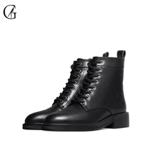 Buy GOXEOU/2019 Boots Winter Women Shoes Round Toe Square Heel Casual Shoes Female Ankle Boots directly from merchant!