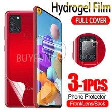 1-3 pçs filme de hidrogel para samsung galaxy a21 a21s a11 protetor de tela sumsung um 21 21s 11 água gel película protetora câmera de vidro