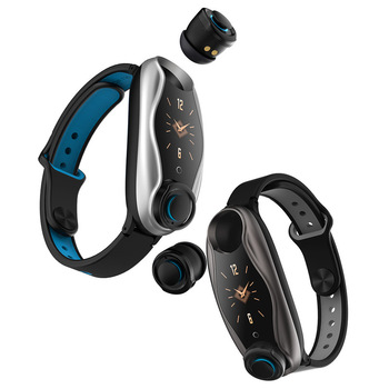 of heart rate and blood pressure with T90 sports color screen smart Bracelet Bluetooth 5.0 binaural call headset