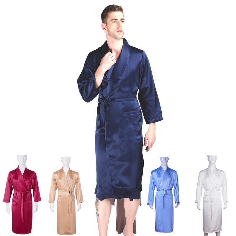 Kimonos Bathrobe Pyjamas Gown Sleepwear 100%Mulberry-Silk Men's Full Long 30-Momme